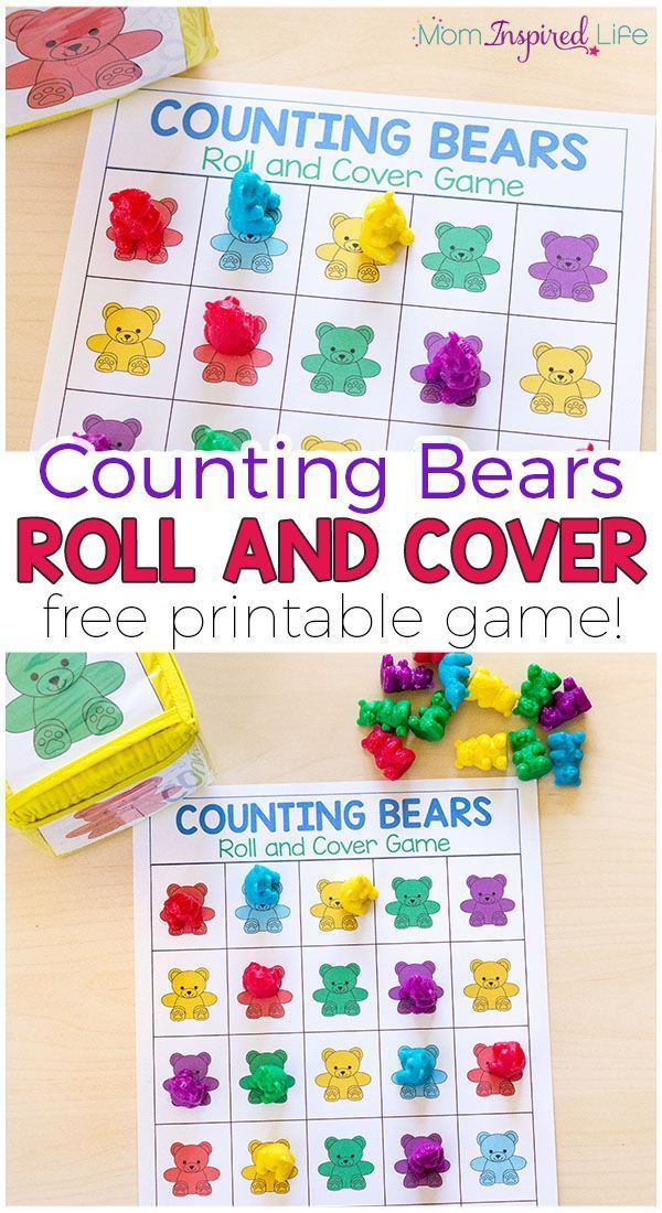 Counting Bears Math Game And Activities Printable Math Games Preschool Math Games Preschool Math