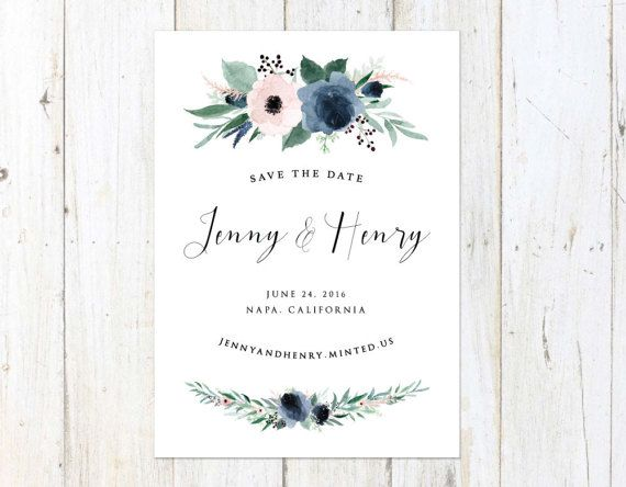 Dusty Blue and Blush Save the Date, Blue and Blush Save the Date, Floral Save the Date, Dusty Blue Wedding
