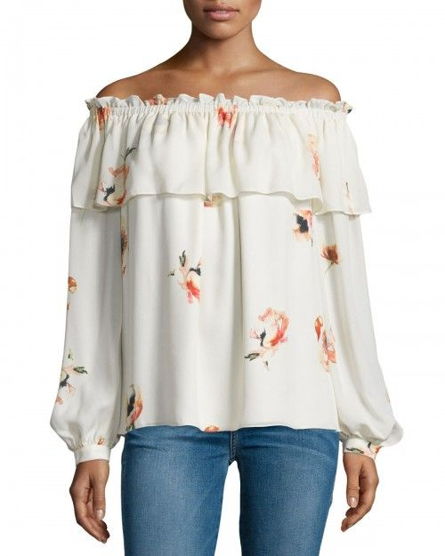 Haute+Hippie+Floral+Silk+Off+the+Shoulder+Blouse+Hounds+Of+Love+Women's+|+Top+and+Clothing