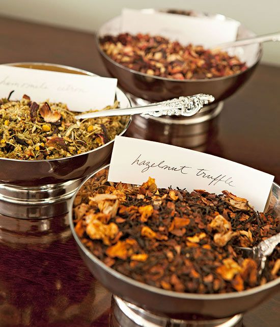 A tea bar offering various loose teas like these from Tea Forté encourages guests to sample.