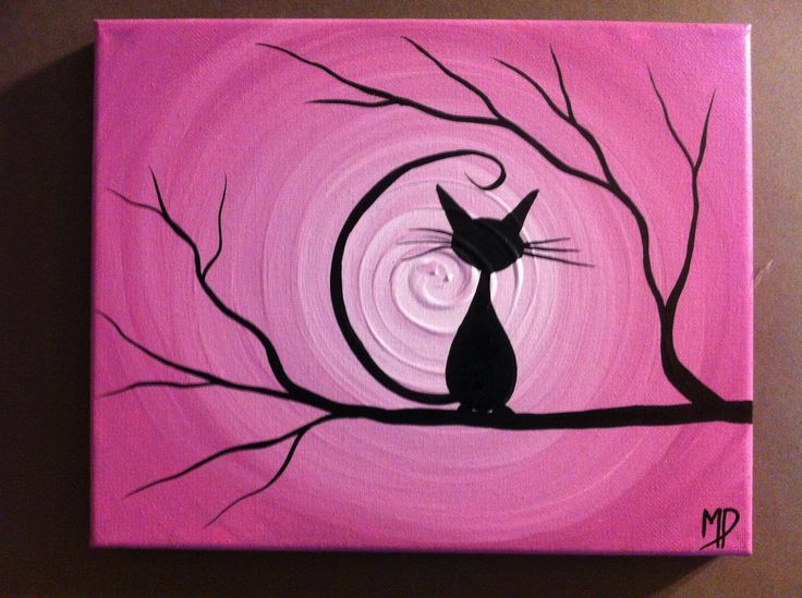 Halloween Black Cat Painting, Etsy