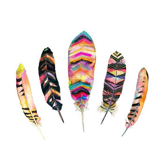 Tribal Feather Watercolor Art Print.  Feather door SnoogsAndWilde