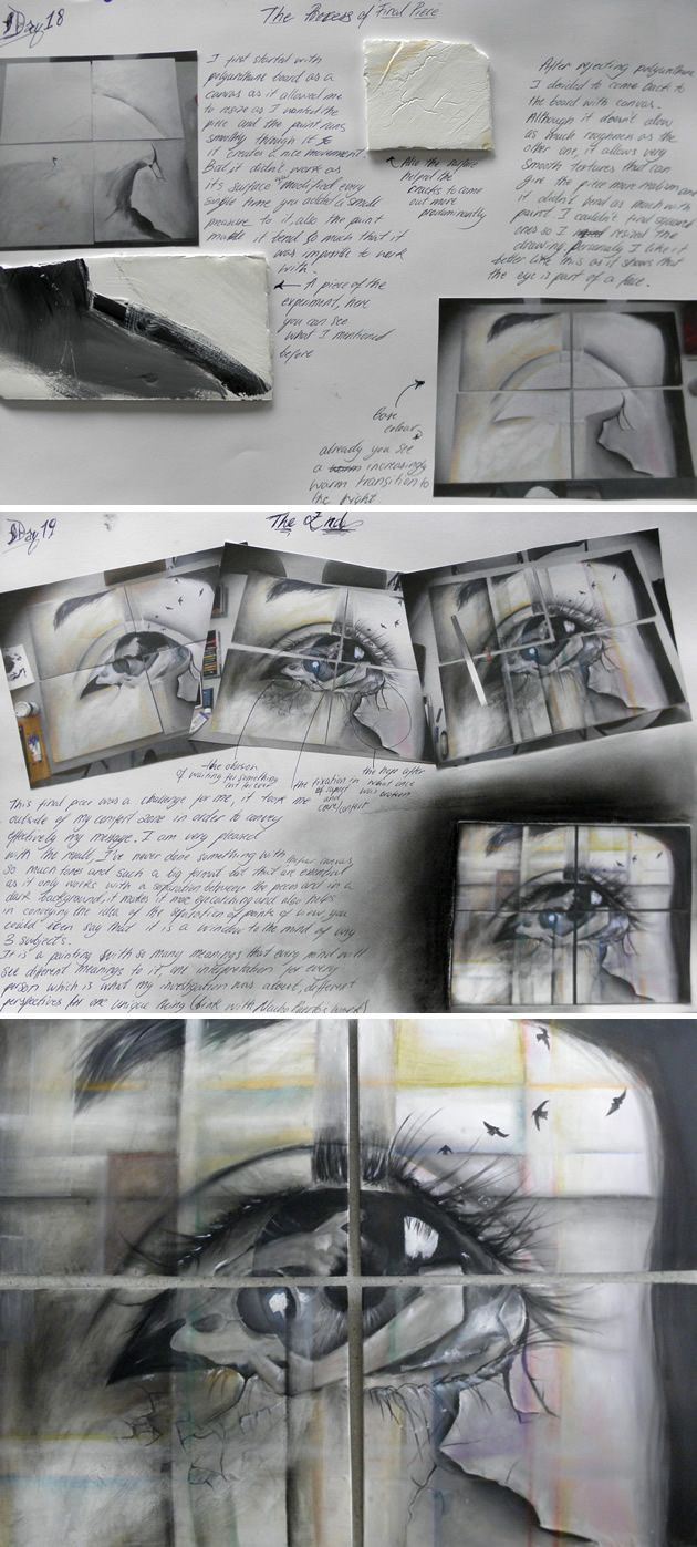 Awesome A Level artwork by Elena Tomas Bort, completed at the Laude British School of Vila-real, Spain. Elena's focuses upon how to draw eyes so that they reveal emotions and reflect messages about life.