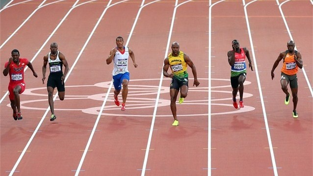 Justin Gatlin of the USA runs in the men's 100m semi-final