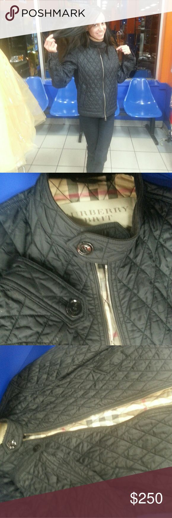 Burberry jacket size best 4 small girl sze 2- 6 Black Burberry jacket. Good for spring or under a heavy jacket or any season in a west coast type of climate but hopefully n east coast not heavy enough to wear alone in winter. Diamond threaded style pattern better described as quilted. Burberry pattern inside jacket. Very cute for a small girl and lightly worn. Burberry Jackets & Coats