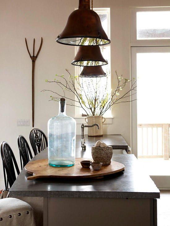 decor natural elements decorating with natural elements bring the outdoors in with this For a subtle take on natural decorating, pair primitives with organic  forms, such as branches, rocks, and wood. Burnished metal pendants with  rope-covered ...