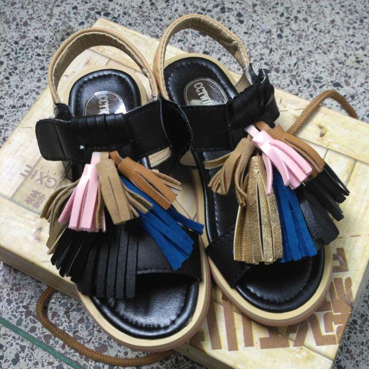 2016 new summer girls tassel sandals children rome sandals for baby summer shoes for kids child beach sandals black brown brand #Affiliate