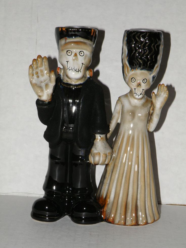 YANKEE CANDLE BONEY BUNCH FRANKENSTEIN & BRIDE TAPER CANDLE HOLDER NIB VERY RARE