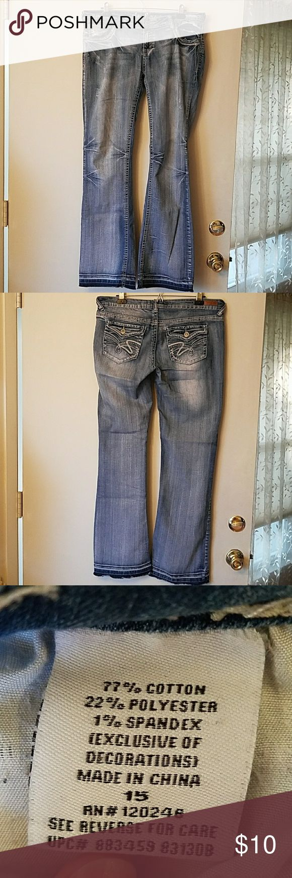 Wallflower Jeans,  Size 15 In seam 32, leg opening 9.5. Note,  I pulled the seams out to make them longer so if you chose to hem them,  they would be shorter than 32. Wallflower Jeans Boot Cut