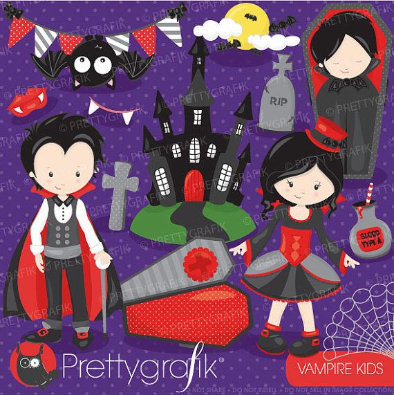 Vampire kids clipart great for #halloweenparty #partythemes #kidsparty