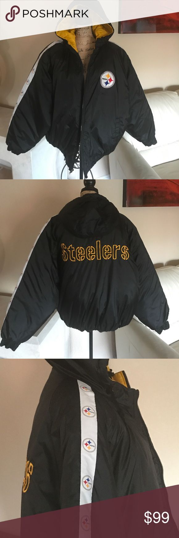 "Pittsburgh Steeler Cold Weather Hooded Jacket NWOT Fro the STEELER FAN🏈🏈🏈Authentic NFL Game Day Pittsburgh Steeler Jacket. NWOT This jacket is perfect for cold weather games and weather. Full Zipper Front and derp inside from pocket. Hood with drawstrings and two side slit front pockets. Size XGD/XL. (XGD=Xtra Grande XL= Xtra Large.). Armpit to armpit measures approximately 30"" Sleeves approximately 27"" Length of Jacket approximately 28"". Great Jacket🏈🏈 Jackets & Coats"