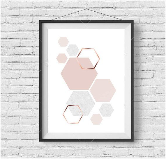 Blush Print Copper Wall Art Rose Gold Print Hexagon Poster Geometric Print Scandinavian Print Minimalist Art Modern Print Blush Home Decor