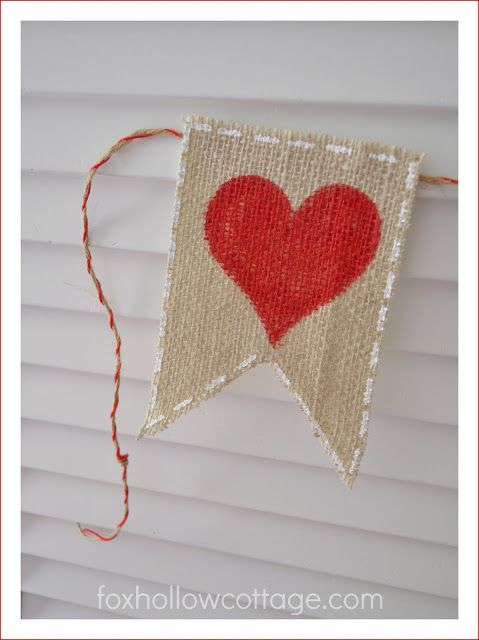 "love the white ""stitching"" accent on this burlap banner"