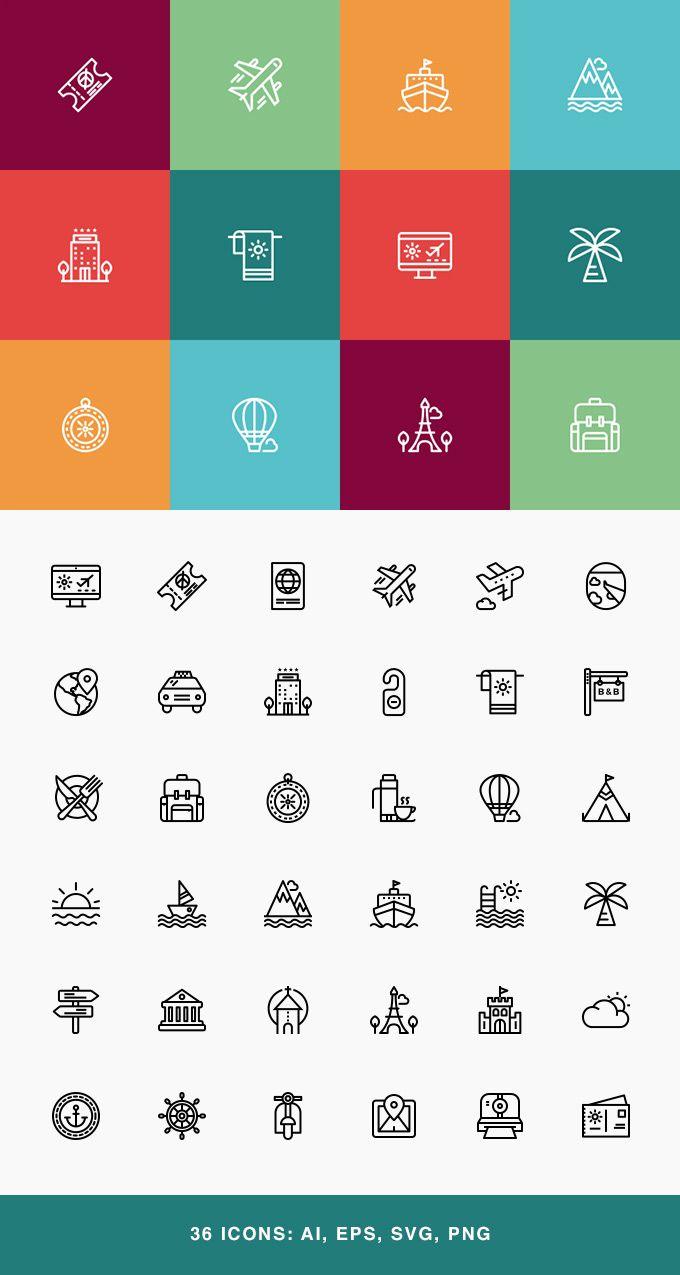 Travel & Vacation Icon Set #freebie #icons
