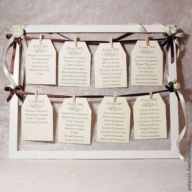 Купить План рассадки гостей в раме с декором из лент и цветочков - план рассадки