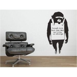 Medium Banksy Monkey Sign Wall Stickers
