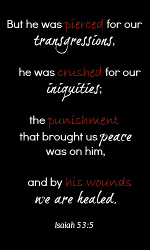 Good Friday ~~~ But He was pierced through for our transgressions, He was crushed for our iniquities; the chastening for our well-being fell upon Him, and by His scourging we are healed. (Isaiah 53:5) NASB