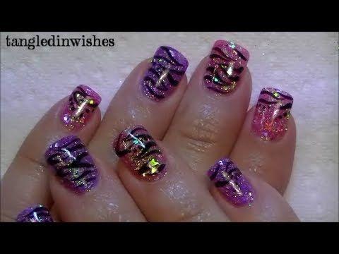 My Starry Zebra Acrylic Nails by tangledinwishes