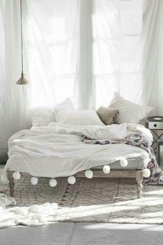 home accessory bedding bedroom pom poms whiye cute white sheets bedspread and pillows grey wood pom pom blanket blanket home decor
