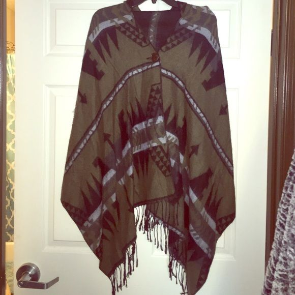 Hooded poncho NEVER WORN soft hooded poncho with Aztec design. Jackets & Coats