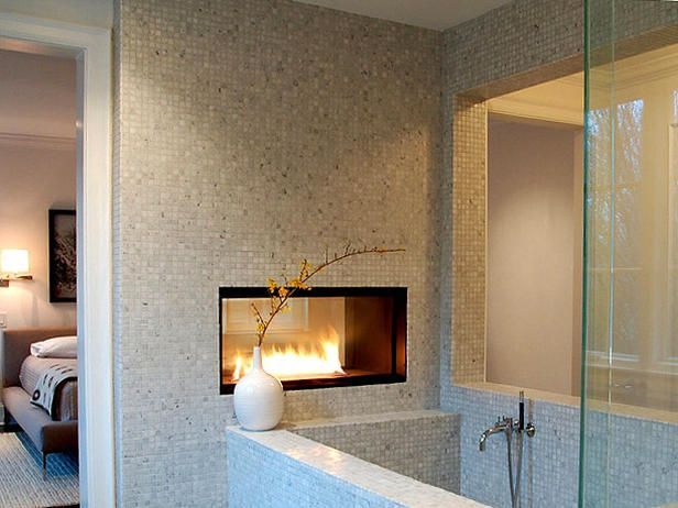 Modern gas fireplaces Master bedroom with bathtub