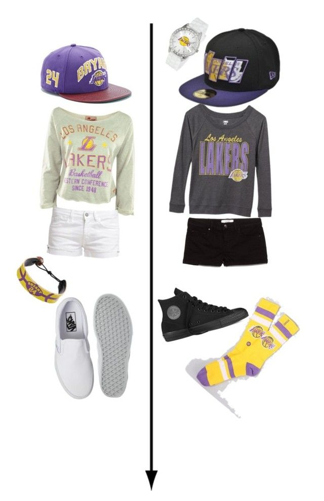 """Best friends lakers game"" by leahgomezanderson ❤ liked on Polyvore featuring GameWear, Sportiqe, Game Time, Old Navy, Le Temps Des Cerises, MANGO, New Era, Stance, Vans and Converse"