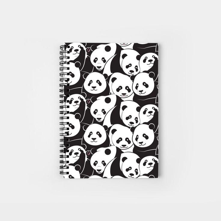 Pandamic spiral notebook by Slugbunny - panda, pandas, bear, bears, pattern, black and white, cute, animal, animals, pandemic, pun, art, vector, illustration, design, cartoon