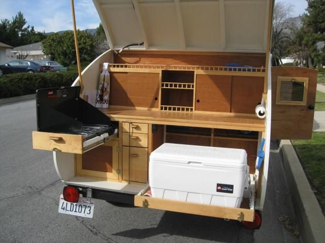 Custom wood teardrop trailer i like the pull out drawer for Teardrop camper kitchen ideas