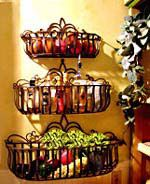 Put produce in baskets on wall