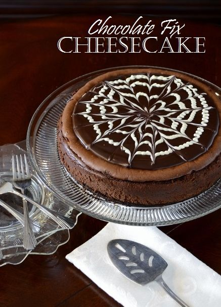 Chocolate Fix Cheesecake | A creamy all-chocolate cheesecake with a lush marbled topping is truly sublime. #Recipe begins here.