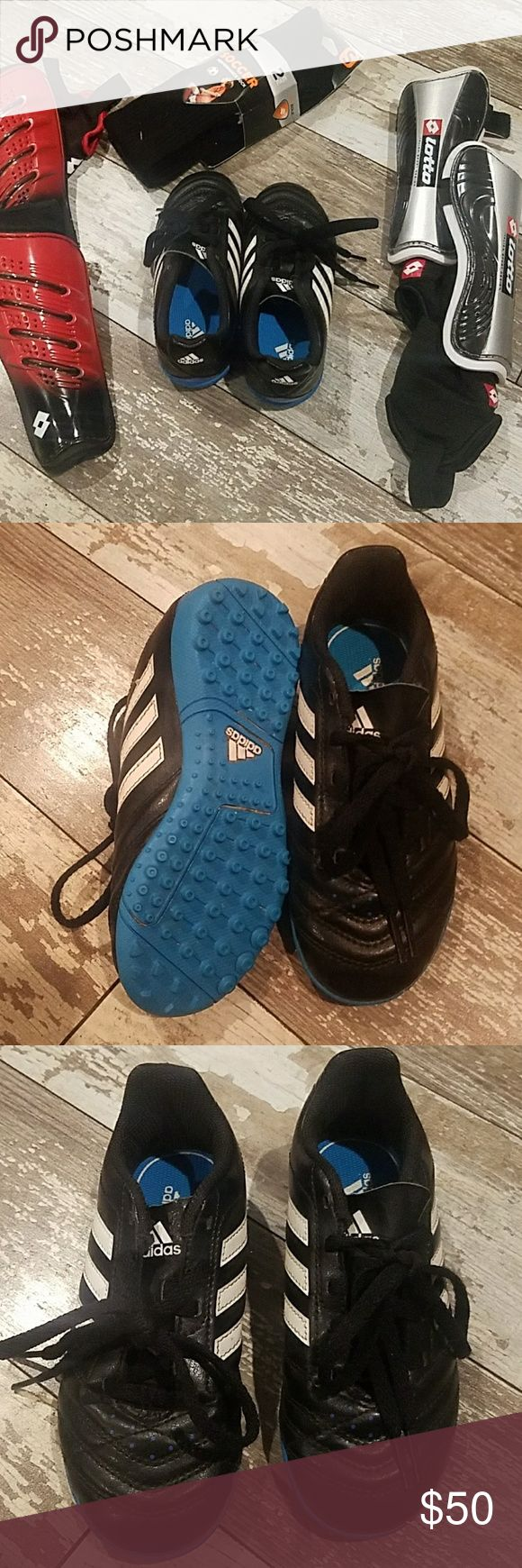 ⚽KIDS SOCCER BUNDLE⚽ Like new.  Adidas soccer shoes. 2 pairs of shin gaurds. FREE 2 pair of soccer socks NWT. adidas Shoes Sneakers