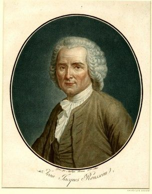 Bust portrait of philosopher Jean-Jacques Rousseau by Angelique Allais-Briceau  within an oval.  1794  Colour aquatint