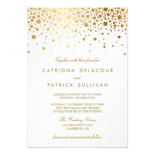 Faux Gold Foil Confetti Elegant Wedding Invitation from http://www.zazzle.com/faux_gold_foil_confetti_elegant_wedding_invitation-161903790980170342?rf=238505586582342524