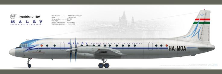 Ilyushin Il-18V Malev Humgarian Air transport #posterjetavia #ilyushin #il18 #malev