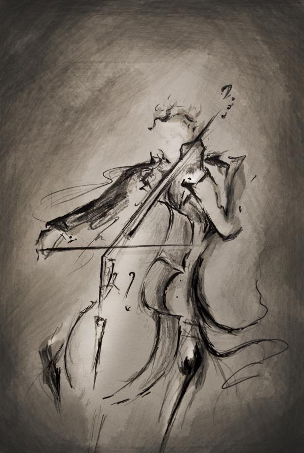 Sketch of cellist {Marc Allante} Lashof Violins