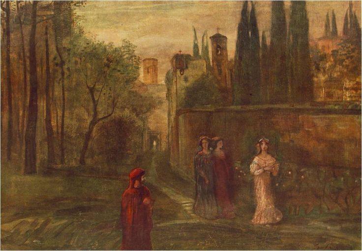 Gulácsy Lajos: Dante találkozása Beatricével, 1907