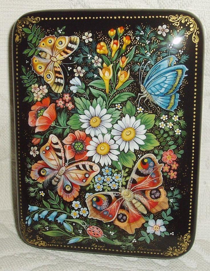 """Russian Lacquer Box Kholui """" Summer """" Butterflies Miniature Hand Painted   eBay"""