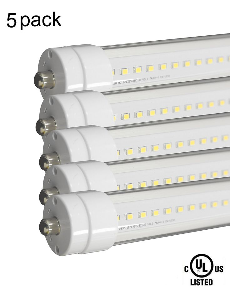 Nobile-led T8 T10 T12 LED Tube Light 8 ft 36W(75W Equivalent) 5000K Daylight White 4400 Lumen Clear Cover 100-277VAC Dual-ended Power Single Pin FA8 UL listed 5 Pack