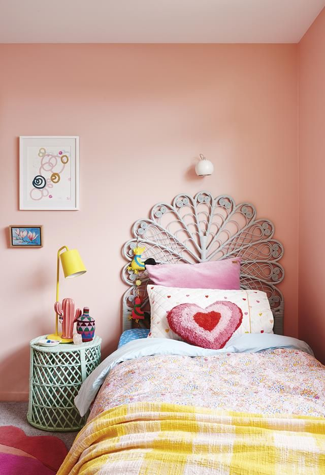 Interior Stylist Emma O Meara S Colourful Home With Bold Ideas Peach Bedroom Bedroom Wall Colors Bedroom Decor