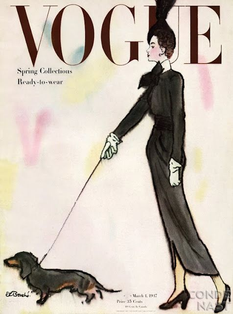 Vogue, 1947 Wiener Dogs are fashionable :)