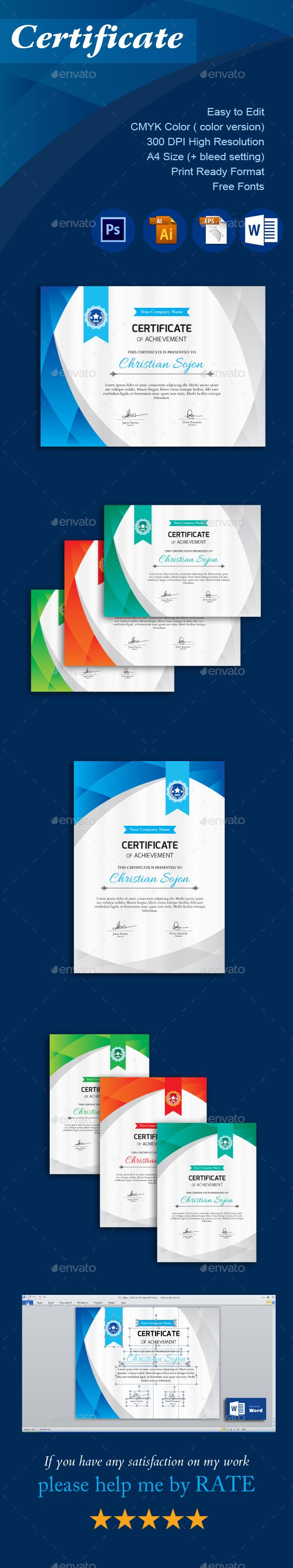 #Certificate - Certificates #Stationery Download here: https://graphicriver.net/item/certificate/18419688?ref=alena994