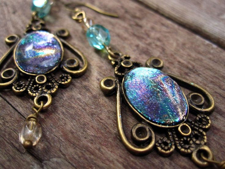 polymer clay with foil and resin in antique brass setting… | Flickr