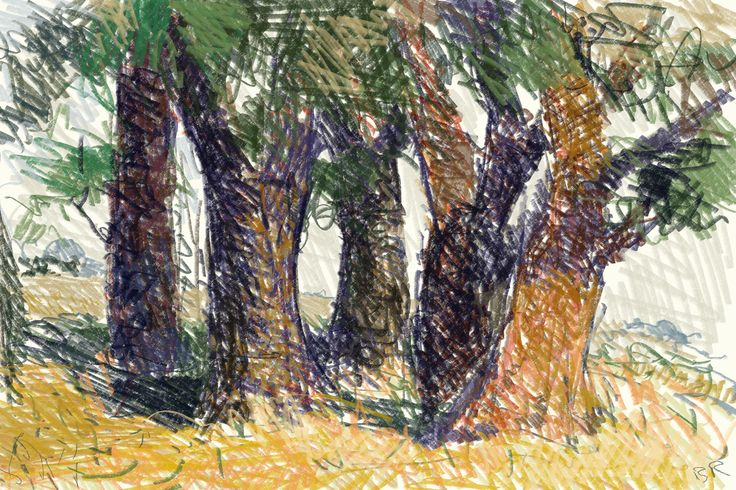trees, pencil,CorelpainterX3, computerdr.
