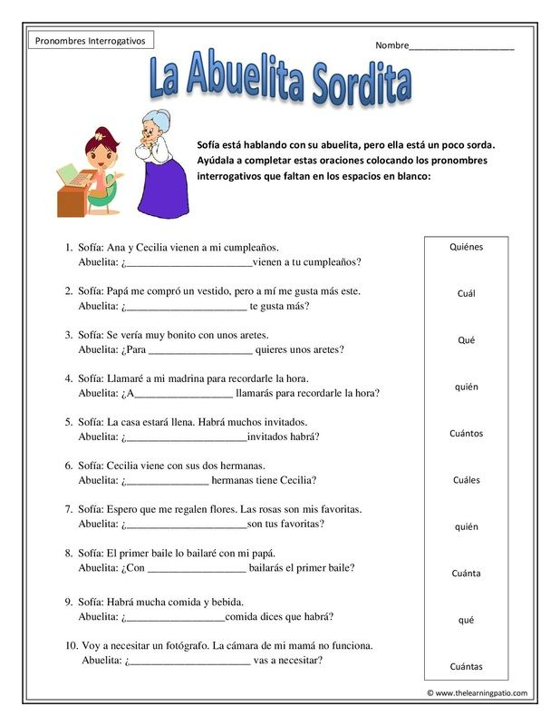 Pronombres Interrogativos ;  Adding grammar in Spanish. With Subscription you have access to our thousands of pdf files.