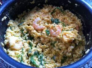 Prawn risotto. An Italian-inspired dish. #Recipe here.  #Risotto de langostinos con rúcula. #receta aquí.
