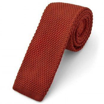 Cravatta rosso scuro lavorata a maglia