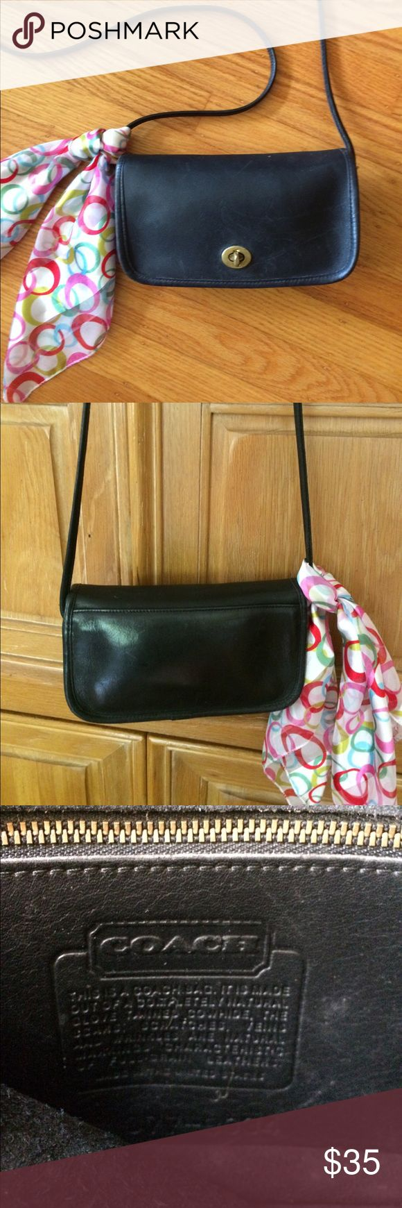 """👛 COACH - Authentic $ Vintage; Black Leather Bag! Authentic & Vintage Black COACH, Black Crossbody Purse. Perfect for your everyday, """"hands-free"""" use. In good, vintage condition. Inside zippered pocket. Plenty of room for your IPhone, Make-up, Car Keys, Mula + More! COACH ID No. is: 077-8034. Can be spruced up with black shoe polish/or leather polish, if desired. Scarf not included. Thank you for shopping here! Please check out other items in my closet and bundle to save 💰. I 💖 my Posher…"""