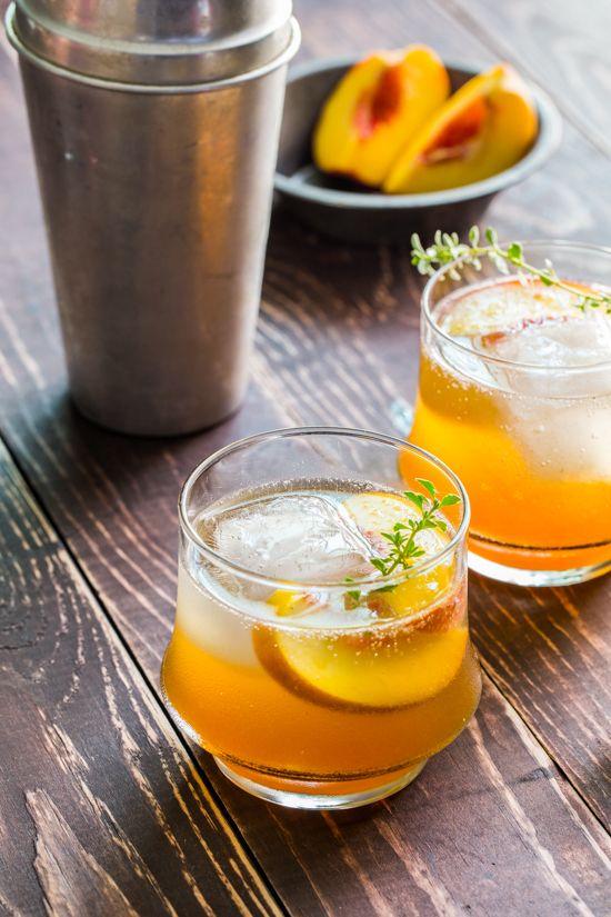 roasted peach bourbon cocktail.