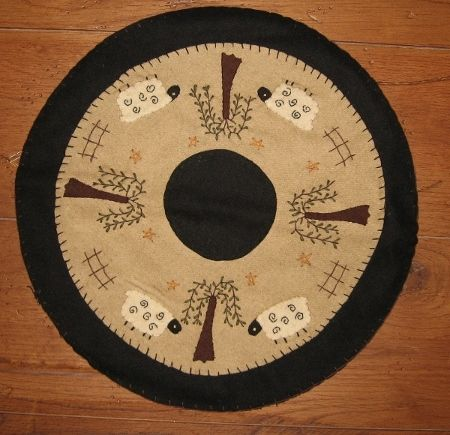Primitive Sheep And Willow Tree Mat Primitive Goods