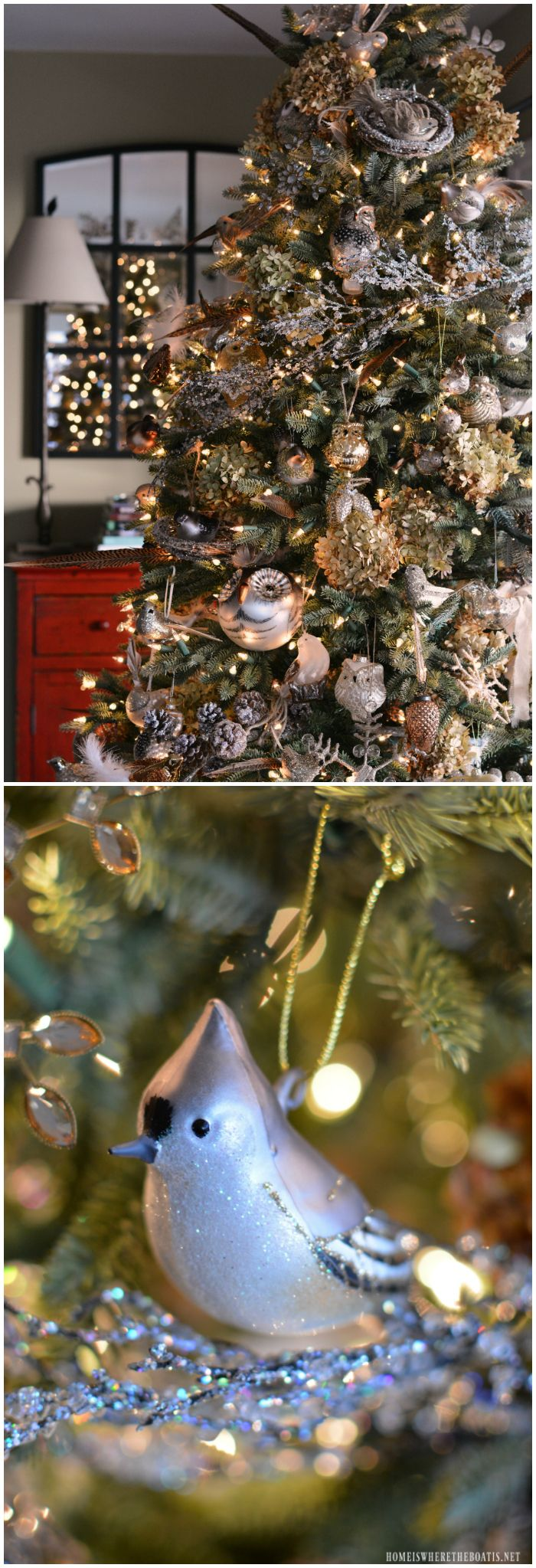 Winter Nesting Tree with birds, dried hydrangeas, pheasant feathers,  pinecones, icy branches